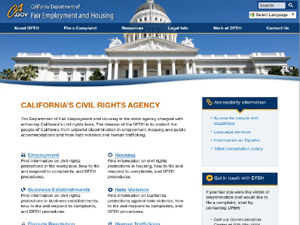 California Department of Fair Employment and Housing Website - Before Image